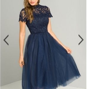Chi Chi London Ari Lace and Tulle Dress